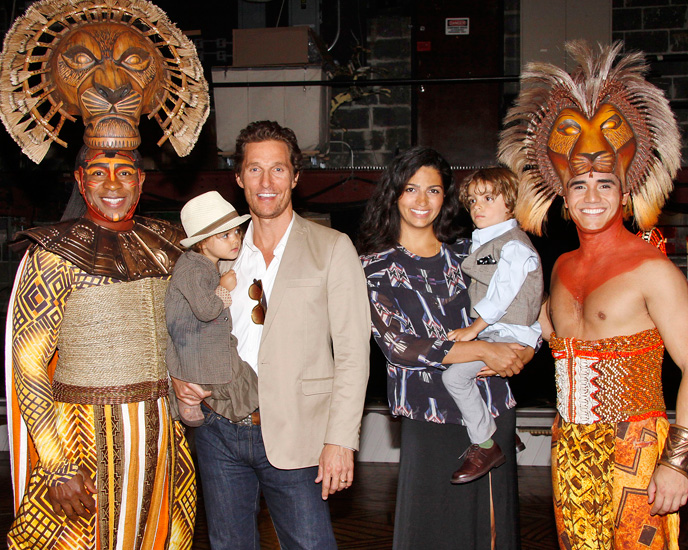 Alton Fitzgerald White and Adam Jacobs with Matthew McConaughey and his family