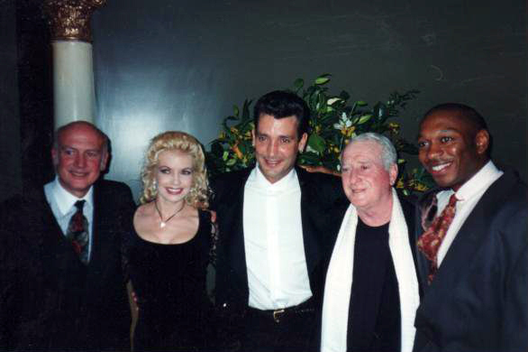 Alton Fitzgerald White with composers Leiber and Stoller at the opening night of Smokey Joe's Café in London